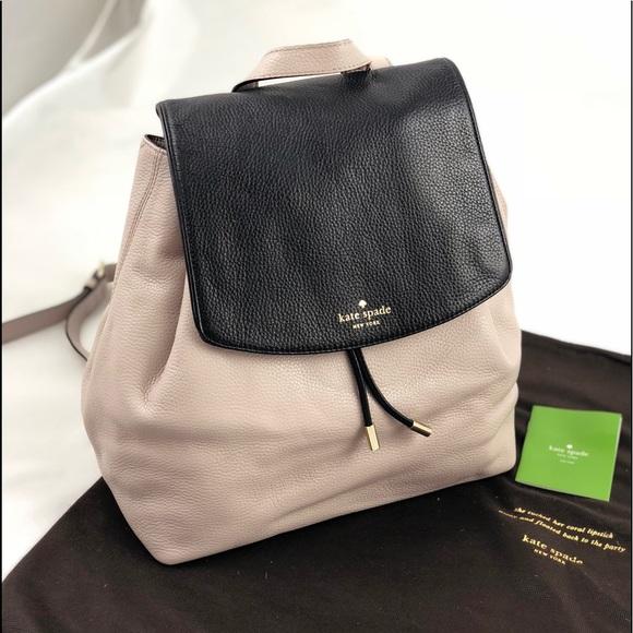 caddde51a0f3 New!Kate Spade Black   Grey Large Leather Backpack
